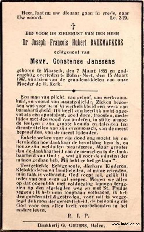 Joseph Francois Hubert Rademaekers