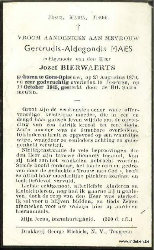 Gertrude Aldegonde Maes