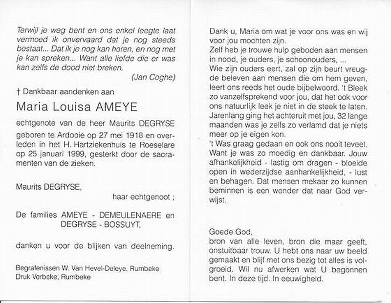 Marie Louise camilla Ameye