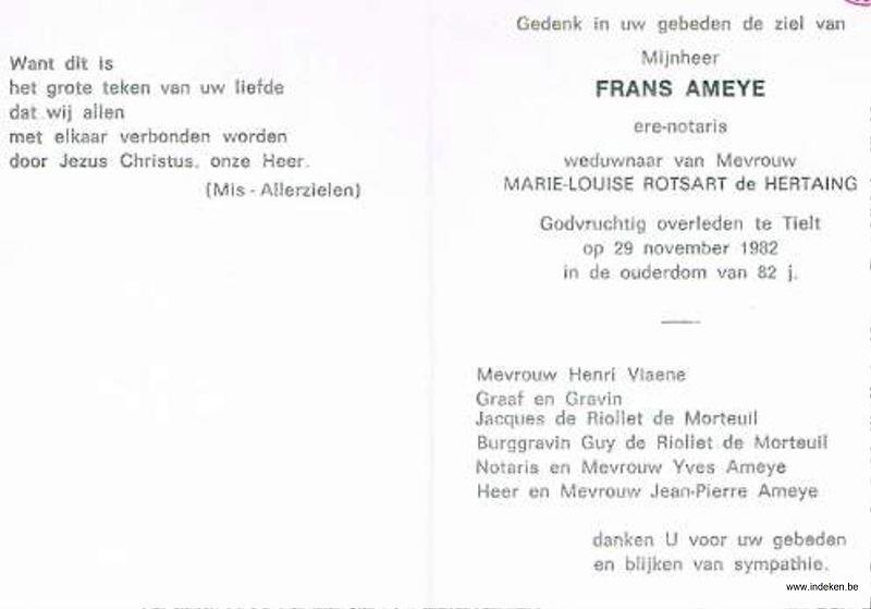Frans Antoine  Raymond Celine Edmond Ameye