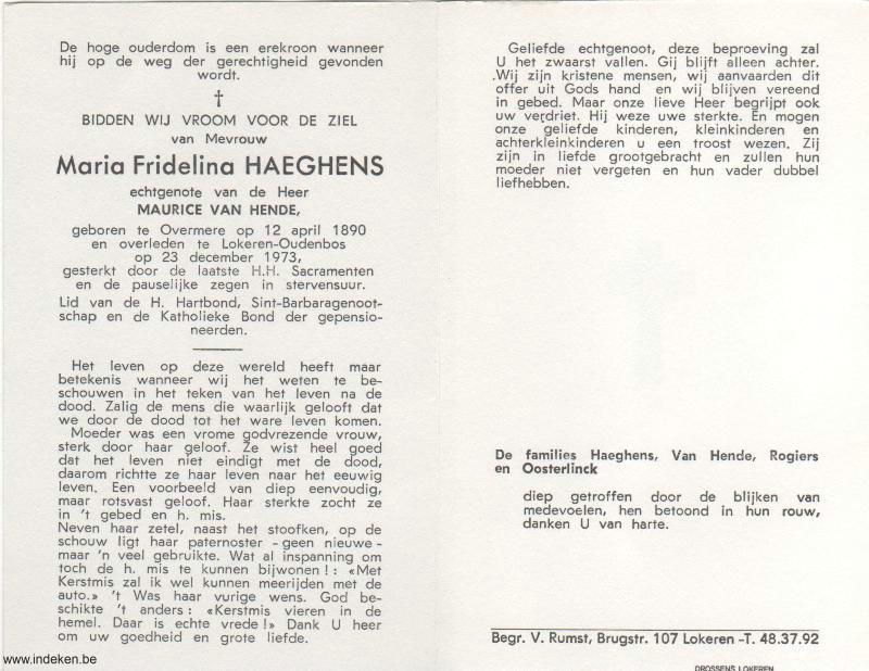 Maria Fridelina Haeghens