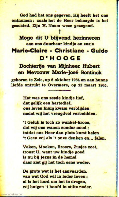 Marie-Claire Christiane Guido D hooge