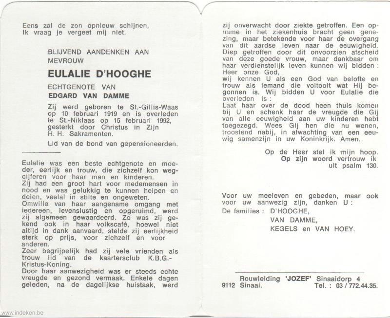 Eulalie D hooghe