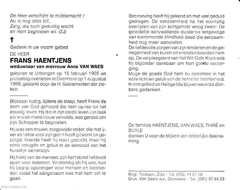 Joannes Franciscus Haentjens