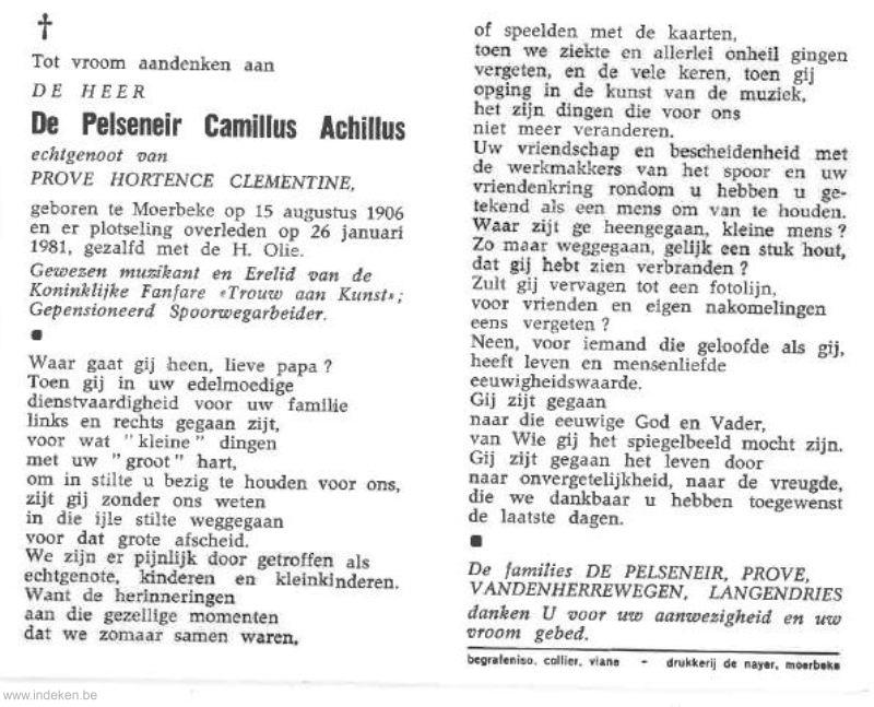 Camillus Achillus De Pelseneir